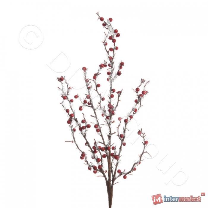 Декор Веточка с красными ягодами и льдом из акрила 55см