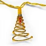 Гирлянда 1,35м золотистая Спираль кабель золотистый 1,5м 10 ламп indoor